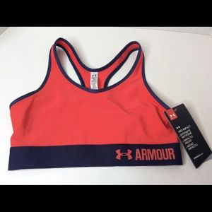 Under Armor Mid Impact Coral Sports Bra Size Small